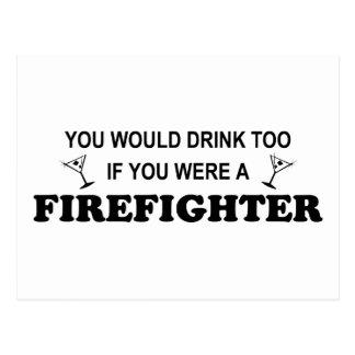 Getränk-auch - Feuerwehrmann Postkarte