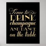 Getränk Champagne und tanzen | Wedding Zeichen Poster