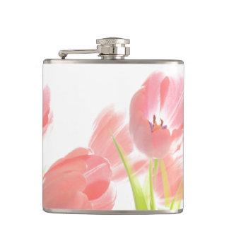 Getränk-Flaschen-Rosa-Tulpe-Blume Retro Flachmann