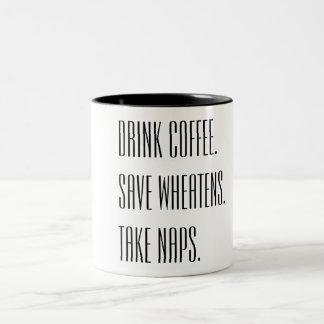 Getränk-Kaffee retten Wheatens nehmen Nickerchen Zweifarbige Tasse