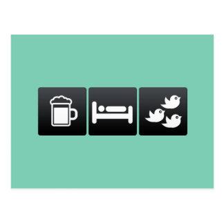 Getränk, Schlaf und Menge der Vögel Postkarte