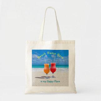 Getränke auf Strand-personalisierter glücklicher Budget Stoffbeutel