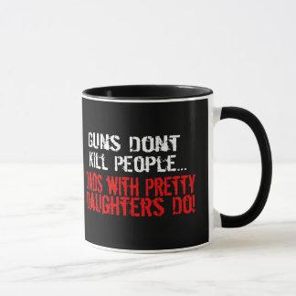 Gewehre töten nicht Leute, lustiger Vati/Tochter Tasse