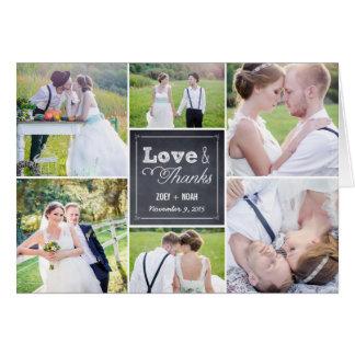 Geweißte Collagen-Hochzeit danken Ihnen zu Mitteilungskarte
