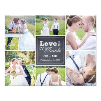 Geweißtes Collagen-Hochzeits-Foto danken Ihnen zu 10,8 X 14 Cm Einladungskarte