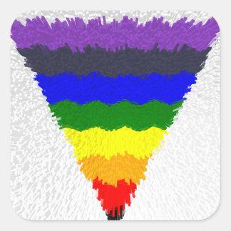 Gewellter Block-Faser-Regenbogen-Dreieck-Trichter Quadratischer Aufkleber