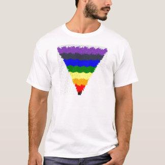 Gewellter Block-Faser-Regenbogen-Dreieck-Trichter T-Shirt