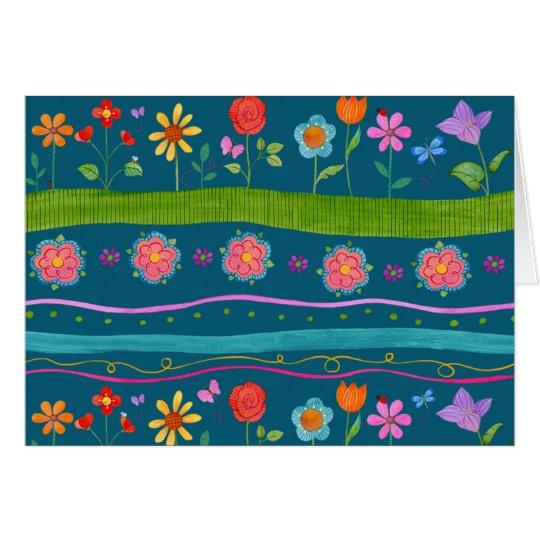 Gewellter Streifen BlumenNotecard (freier Raum Mitteilungskarte
