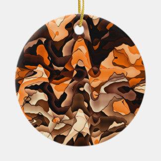 Gewelltes Orange und braun Keramik Ornament