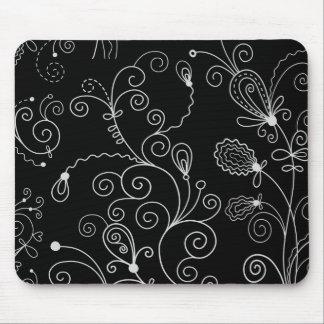 Gewirbeltes Muster, Wirble Art - Schwarz-weiß Mousepad