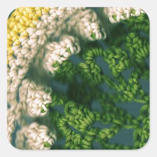 Gewirktes Foto-OP Quadratischer Aufkleber