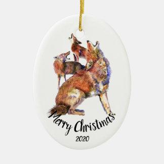 Gewohnheit datierte Heulenkojote-frohe Weihnachten Keramik Ornament