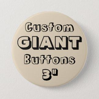 """Gewohnheit Druck-RIESE 3"""" Knopf-Button BEIGE Runder Button 7,6 Cm"""