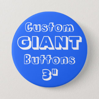 """Gewohnheit Druck-RIESE 3"""" Knopf-Button BLAU Runder Button 7,6 Cm"""