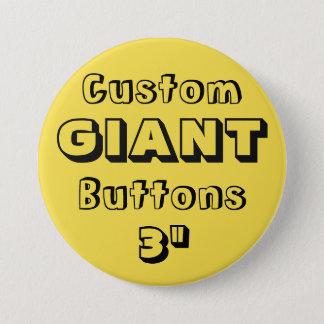 """Gewohnheit Druck-RIESE 3"""" Knopf-Button GELB Runder Button 7,6 Cm"""