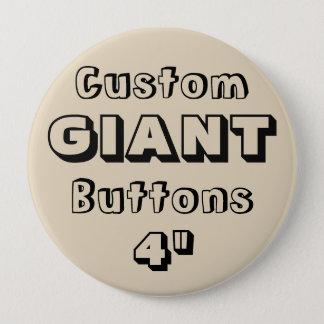 """Gewohnheit Druck-RIESE 4"""" Knopf-Button BEIGE Runder Button 10,2 Cm"""