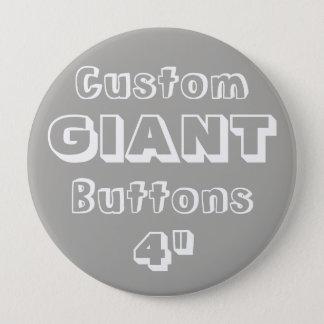 """Gewohnheit Druck-RIESE 4"""" Knopf-Button GRAU Runder Button 10,2 Cm"""