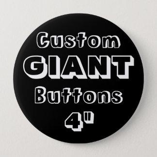 """Gewohnheit Druck-RIESE 4"""" Knopf-Button SCHWARZES Runder Button 10,2 Cm"""