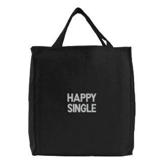 Gewohnheit gestickte Tasche, glücklicher Single, Bestickte Tragetasche