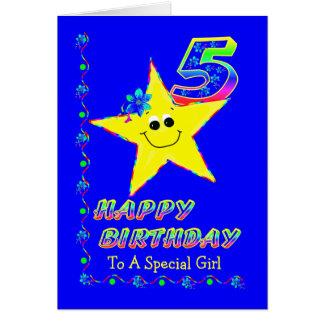 Gewohnheits-5. Geburtstags-Sterne für Mädchen Karte