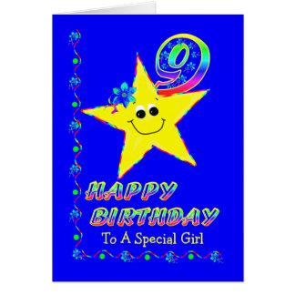 Gewohnheits-9. Geburtstags-Sterne für Mädchen Karte