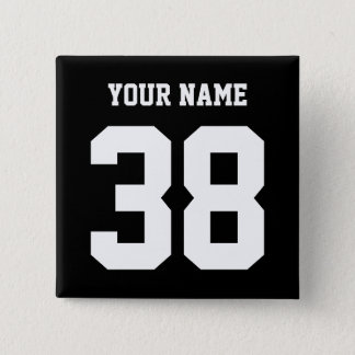 Gewohnheitsknopf des Sports Name und der Zahl Quadratischer Button 5,1 Cm