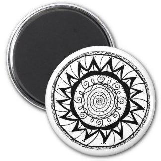 Gewundene Mandala-Blume Runder Magnet 5,1 Cm