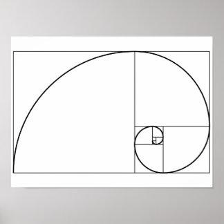 Gewundenes goldenes Verhältnis Fibonaccis Poster
