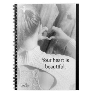 """Gewundenes Notizbuch """"Ihr Herz ist schön """" Notizblock"""