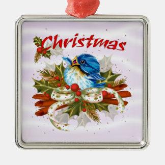GEWÜRZ-VOGEL Weihnachtserstklassige quadratische Silbernes Ornament