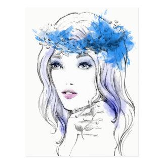 Gezeichnete Illustration der Mode des Watercolor Postkarte