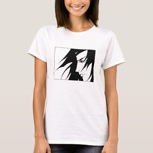 Gezeichneter Charakter mit dem Wind T-Shirt
