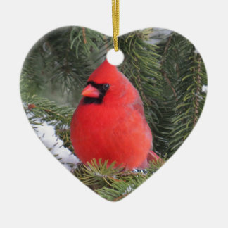 Gezierter Kardinal Keramik Herz-Ornament