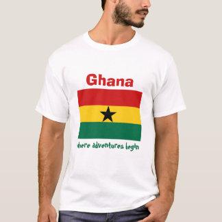 Ghana-Flagge + Karte + Text-T - Shirt