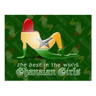 Ghanaische Mädchen-Silhouette-Flagge Postkarte