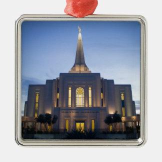 GIlbert Arizona LDS Tempel Quadratisches Silberfarbenes Ornament