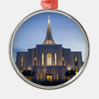 GIlbert Arizona LDS Tempel Rundes Silberfarbenes Ornament