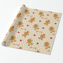 Gingerbread Boy and Girl - Beige Gift Wrap