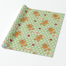 Gingerbread Boy and Girl - Green Gift Wrapping Paper
