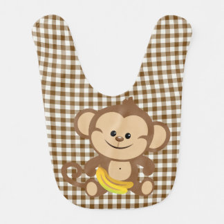 Gingham-Affe mit Bananen-Schellfisch Babylätzchen