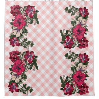Gingham-rosa Hintergrund mit gekräuselten Petunien Duschvorhang