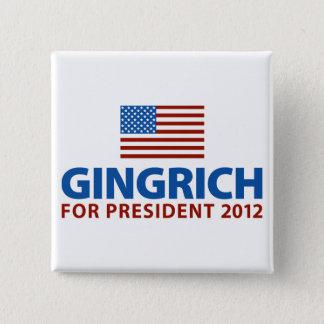 Gingrich für Präsidenten Quadratischer Button 5,1 Cm