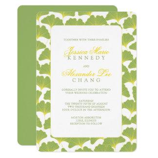 Ginkgo-Baum-Frühlings-Grün-Hochzeit 12,7 X 17,8 Cm Einladungskarte