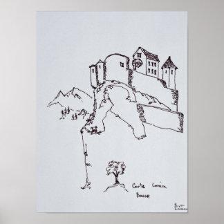 Gipfel-Festung von Corte | Korsika, Frankreich Poster