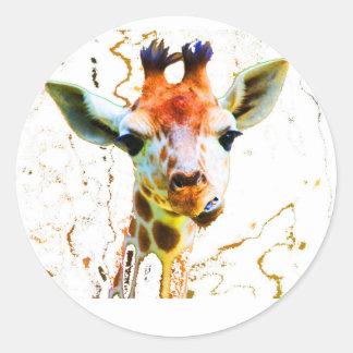Girafe de bébé autocollants ronds