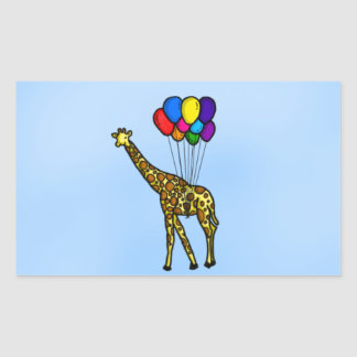 Girafe portée par des ballons sticker rectangulaire