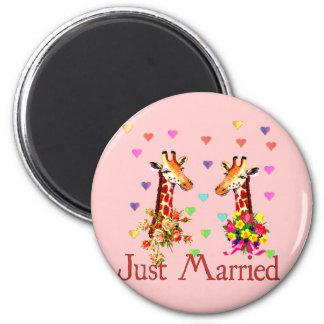 Girafes de mariage magnet rond 8 cm