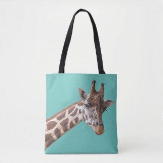 Giraffe auf aquamarinem Grün Tasche