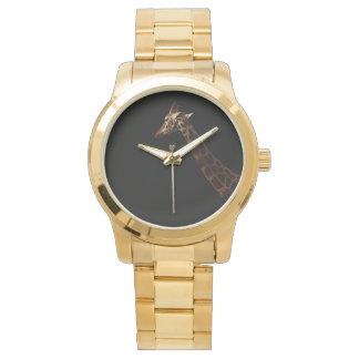 Giraffe auf schwarzem Hintergrund, Armbanduhr