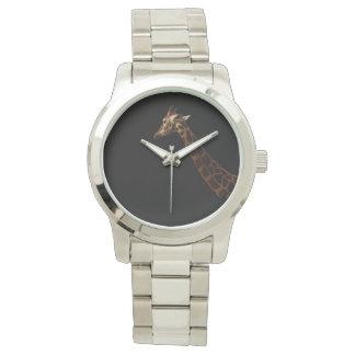 Giraffe auf schwarzem Hintergrund, Uhr